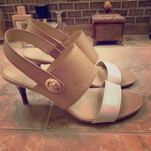 Two-tone Coach kitten heel sandals